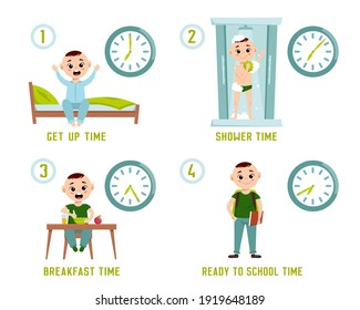 Boy morning routine. Funny character. Every day schedule. Waking up, taking a shower, dressing up, eating, getting ready to school. Cartoon flat style. Vector illustration isolated on white background