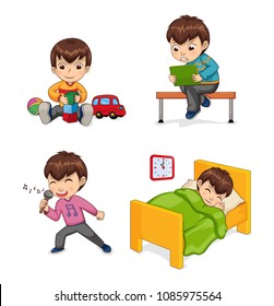 Boy musician and hobby, singing child, playing with toys cube car, sitting on bench looking at tablet, collection isolated on vector illustration