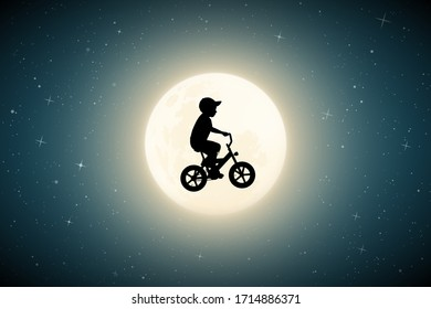 Boy on bike on moonlit night. Funny vector illustration with silhouette of flying child on bicycle. Flight in dream. Full moon in starry sky