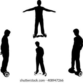 Boy on his hoverboard - vector