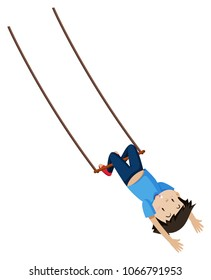 A Boy on Trapeze Swing illustration
