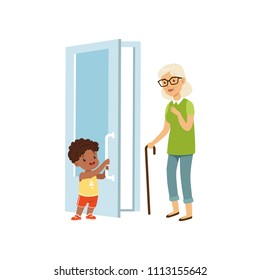 Boy opening the door to an elderly woman, kids good manners concept vector Illustration on a white background
