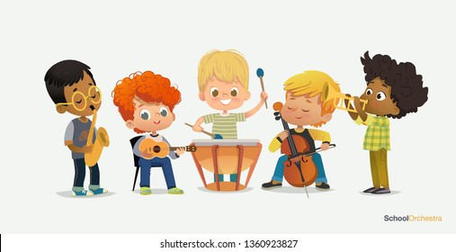 Boy Orchestra Play Different Music Instrument. Jazz Band Performance. Trumpet, cello, ukulele, tympani drums, saxophone. Pupil Acoustic Star. Drum Stereo Sound Flat Cartoon Vector Illustration