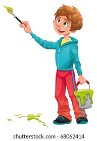 Boy painter.  Funny cartoon and vector character