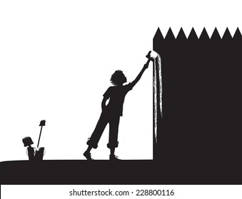 boy paints the fence, shadows, vector black and white,
