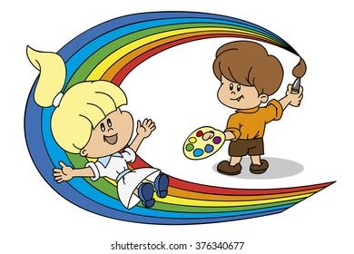 A boy paints a rainbow girl riding it like a roller coaster