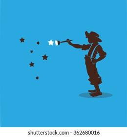 Boy paints the stars