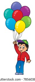 Boy with party balloons theme 1 - eps10 vector illustration.