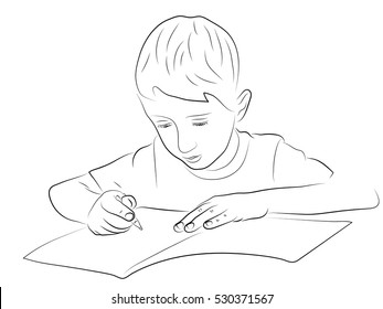 boy with pen writing in a notebook. Illustration on the theme of children's learning - students. Black and white pencil drawing