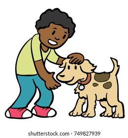 boy petting a dog