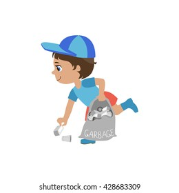 Boy Picking Up Trash Simple Design Illustration In Cute Fun Cartoon Style Isolated On White Background