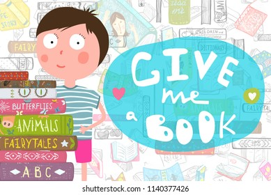 Boy and Pile of Books Reading Cartoon. Little kid with books and fun text lettering design. Vector cartoon.