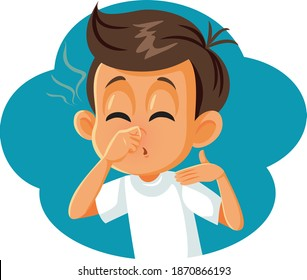 Boy Pinching his Nose Covering Bad Smell. Funny child feeling unhappy about something stinky