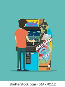 a boy play on a arcade machine. Vector illustration.