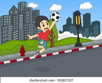 Boy play soccer on the street cartoon vector illustration