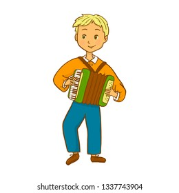 Boy playing accordion. Vector illustration.