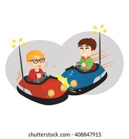 Boy playing bumper car with friend
