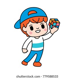 A Boy is Playing a Cubic