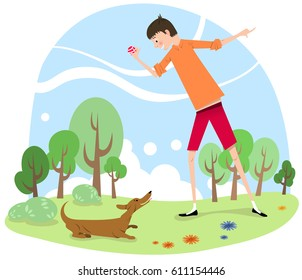 Boy playing with dog in a park (vintage style vector graphic)