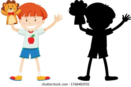 Boy playing with doll hand in colour and silhouette illustration