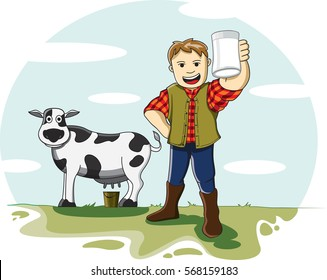 The Boy Playing & Drinking Milk in the Cattle Farm