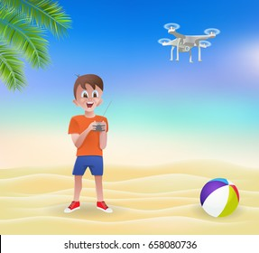 Boy playing with a drone on the beach.Vector illustration.