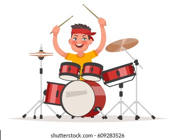 Boy playing drums on a white background. Musical children's performance. Vector illustration in cartoon style