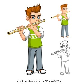 Boy Playing Flute Cartoon Character Vector Illustration