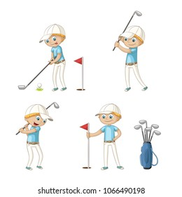 Boy playing golf. Funny cartoon character. Isolated on white background.