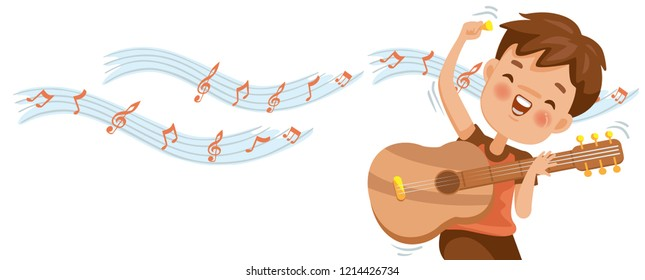 Boy playing guitar. Note on the white background. Billboard or branner design. Gaps fill your data to fill. Concept illustrations for web pages, schools, special classes for children. Vectors