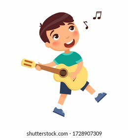 Boy playing guitar and singing song flat vector illustration. Young male cartoon character holding musical instrument and dancing. Talented child hobby, leisure isolated on white background