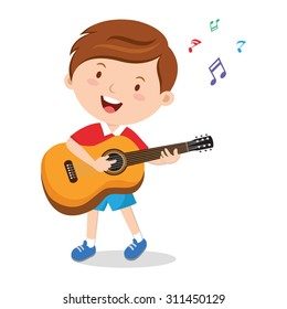 Boy playing guitar. Vector illustration of a cheerful boy playing guitar happily.
