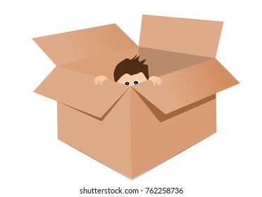 Boy playing hide and seek in a box illustration vector