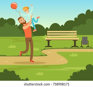 Boy playing with his father in summer park outside, dad and son having fun together, family leisure vector illustration