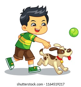 Boy Playing With His Pet Dog.