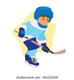 boy playing hockey. vector