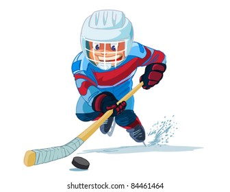 Boy playing in ice hockey on white background