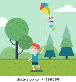 Boy playing with kite in the park, running with it on a rope. Smiling kid character. Modern flat vector illustration clipart.