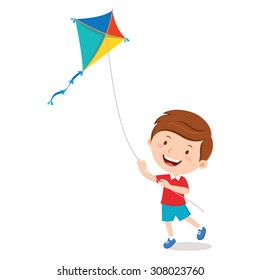 Boy playing kite. Vector illustration of a cheerful boy flying kite.