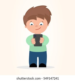 Boy playing with mobile phone vector illustration