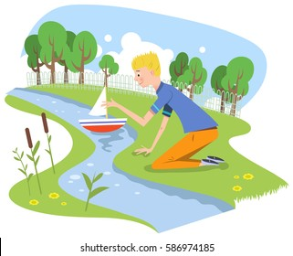 Boy playing with model boat in shallow creek in a park, vector cartoon
