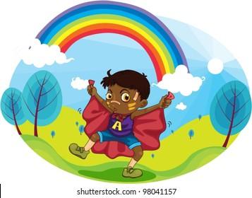 boy playing near rainbow