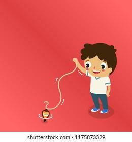 boy playing nostalgic game top spinning