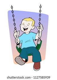 Boy Playing on Swing Vector Image
