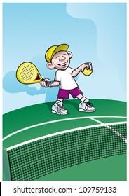 boy playing padelball