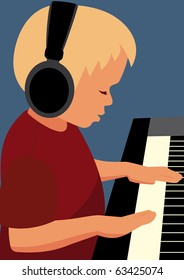 Boy playing a piano in headphones