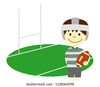 A boy playing rugby