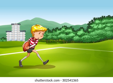 Boy playing rugby in the field illustration