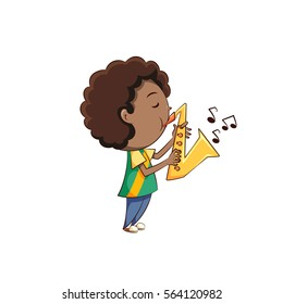 Boy playing sax