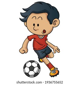 Boy playing a soccer game. Kid attacking swinging leg to kickball to hit. Child in football uniform having fun and smiling. Flat vector character illustration